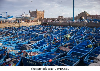 Essaouira, MOROCCO - MAY 8: The blue boats docked in the Medina Essaouira, Morocco on May 8 2016.