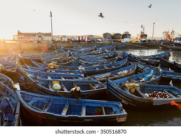 ESSAOUIRA, MOROCCO - NOVEMBER 4, 2015: Sunset view on port of Essaouira, Morocco