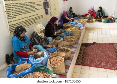 ESSAOUIRA, MOROCCO-FEBRUARY, 7: women working in a cooperative for the manufacturing of argan fruits in Essaouira, Morocco, February 7, 2014. Only women work in these cooperatives