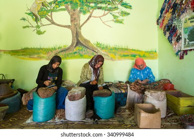 ESSAOUIRA, MOROCCO-NOVEMBER, 8: women working in a cooperative for the manufacturing of argan fruits in Essaouira, Morocco, November 8, 2015. Only women work in these cooperatives