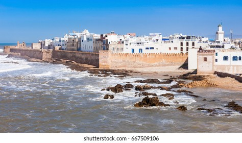 Essaouira Ramparts aerial panoramic view in Essaouira, Morocco. Essaouira is a city in the western Moroccan region on the Atlantic coast.