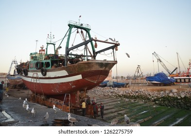 Essaouira/Morocco_19 Dec 2018: Essaouira Fish Market is the place to get the LOCAL seafood, the port is near Bab Doukala. Fishermen and seafood stall busy around the port.