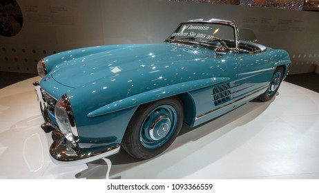 ESSEN, GERMANY - APR 1, 2011: Mercedes-Benz 300 SL Roadster classic sports car on display at the Essen Techno Classica Motor Show.