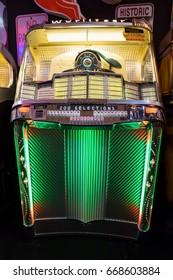 ESSEN, GERMANY - APR 6, 2017: Vintage Wurlitzer 2000 Centennial music jukebox for sale at the Techno Classica Essen event.