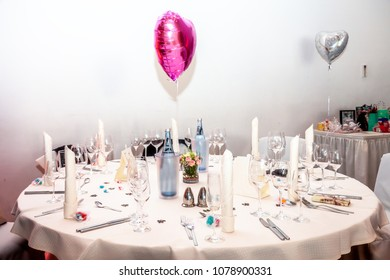 ESSEN / GERMANY - APRIL 07 2018 : The room is ready for the wedding reception