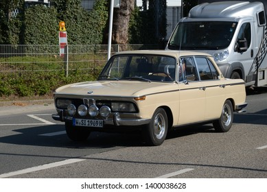 ESSEN, GERMANY - APRIL 10, 2019: BMW 2000 TI classic German luxury executive 1970s car pictured on the city street. Techno-Classica Essen Motorshow.