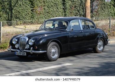 ESSEN, GERMANY - APRIL 10, 2019: Daimler 2.5 V8 based on Jaguar Mark 2 classic British medium-sized 1960s saloon car. Techno-Classica Essen Motorshow.