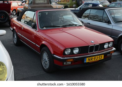 ESSEN, GERMANY - APRIL 10, 2019: BMW 325i E30 Cabrio classic German 1980s cabriolet convertible retro old vintage car on the parking