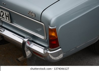 ESSEN, GERMANY - APRIL 12, 2019: Ford Taunus 17m P7 1700S popular family old 1960s German medium size car pictured on the street. Back view taillight.