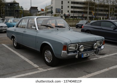 ESSEN, GERMANY - APRIL 12, 2019: Ford Taunus 17m P7 1700S popular family old 1960s German medium size car pictured on the street. Front view.