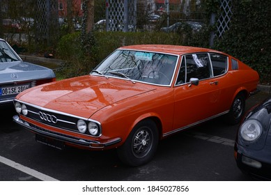 ESSEN, GERMANY - APRIL 7, 2016: Audi 100 Coupe sports fastback coupe Grand tourer class car manufactured by the German automaker Audi AG in 1970s