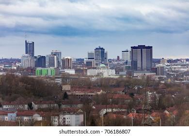 Essen, Germany, Europe - NOV 17, 2015: High rise buildings form the skyline of inner city of Essen, North Rhine-westphalia, Germany, Europe on Nov 17, 2015