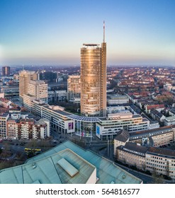 ESSEN / GERMANY - JANUARY 25 2017 : THE RWE headquarter building under the sunset, aerial