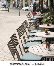 ESSEN, GERMANY - JANUARY 25, 2017: Despite of winter temperatures a cafe offers seats outdoors