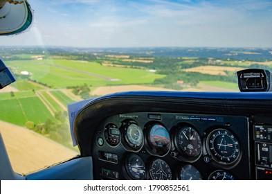 ESSEN, GERMANY - July 18: A Cessna 172 on approach on July 18, 2014 in Essen, Germany