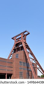 Essen, Germany - July 26, 2019:  Shaft tower, industrial architecture, a former large industrial coal mining site in the Ruhr area in Essen. Zollverein Coal Mine Industrial Complex.