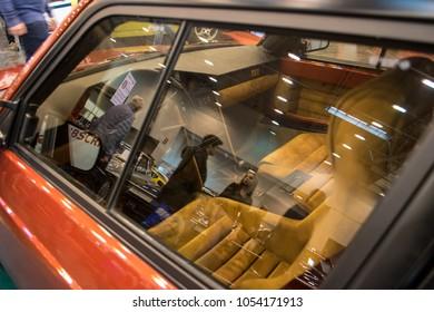 Essen, Germany, March 23, 2018; Essen Techno Classica 2018. 1989 Lancia Delta S4 interior
