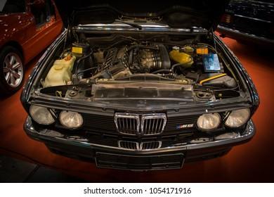 Essen, Germany, March 23, 2018; Essen Techno Classica 2018. BMW E28 M5 engine bay.