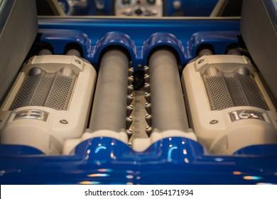 Essen, Germany, March 23, 2018; Essen Techno Classica 2018. Bugatti Veyron W16 Engine Bay.