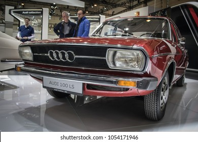 Essen, Germany, March 23, 2018; Essen Techno Classica 2018. Audi 100 LS.