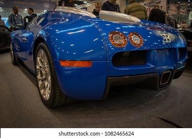 Essen, Germany, March 23, 2018; Essen Techno Classica 2018. Bugatti Veyron Vitesse EB16.4 in blue.