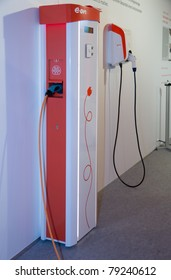 ESSEN, GERMANY - MAY, 05: - Two Prototypes of energy-service-stations, built to charge electric-cars, are shown on E.ON's annual general meeting on May 5, 2011 in Essen, Germany.