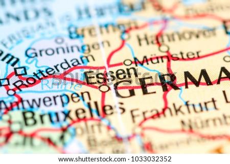Essen Germany On Map Stock Photo Edit Now 1033032352 Shutterstock