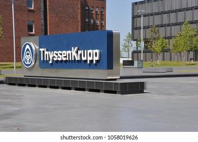 Essen, North Rhine-Westphalia / Germany - August 19, 2012: Logo in front of ThyssenKrupp headquarters in Essen, Germany - ThyssenKrupp AG is one of the world's largest steel producers