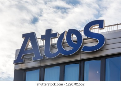 essen, North Rhine-Westphalia/germany - 02 11 18: atos sign on an building in essen germany