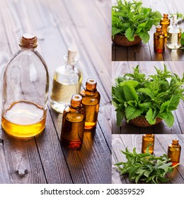 Essential aroma oil with peppermint  on wooden background. Spa collage.
