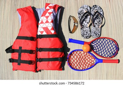 Essential beach gear flat photography.