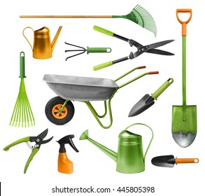 Essential gardening hand tools colorful set isolated on white