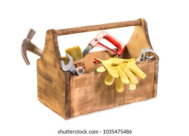 essential kit of handyman tools in white background