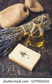 Essential lavender oil, dry lavender flowers, herbal soap and bath salt