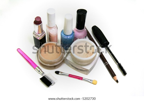 Essential makeup accessories for a woman.