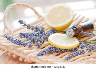 Essential oil arrangement with lemon and lavender