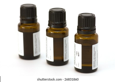 essential oil bottles, isolated