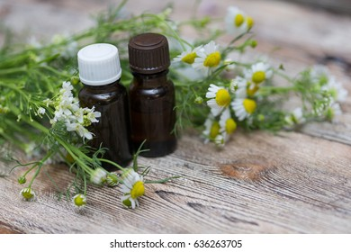 Essential oil and chamomile flowers, Items for spa
