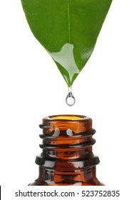 Essential oil dropping from green leaf into amber glass bottle isolated on white