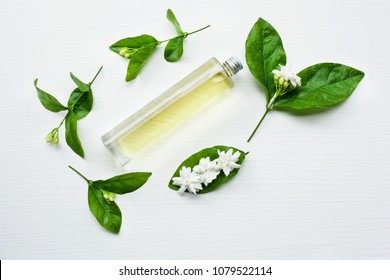 Essential oil with jasmine  flower on white background.