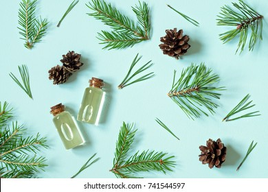 Essential oil of pine and spruce in small glass bottles on a blue background. The view from the top.