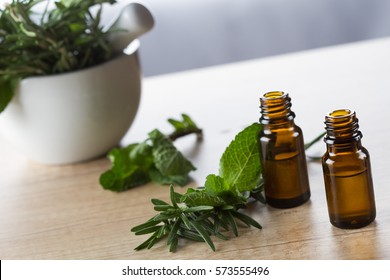 Essential oil rosemary and peppermint for aromatherapy