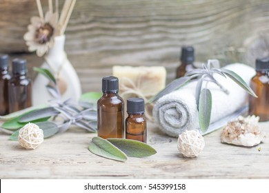 Essential oil sage towel spa. Dry Medical Herb Phytotherapy Aromatherapy concept.
