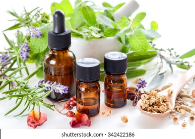 essential oils for aromatherapy treatment with fresh herbs in white background
