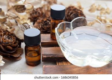 ätherische Öle mit Massöl für die Aromatherapie
