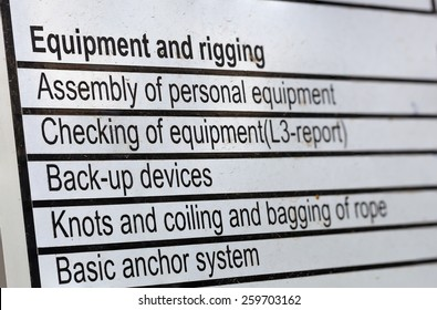 Essentially checklist for rope access activities.