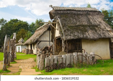Essex, UK - 31 August, 2019: Houses in the Norman village reconstruction, educational centre for kids which represents historical activities and every day medieval life experience