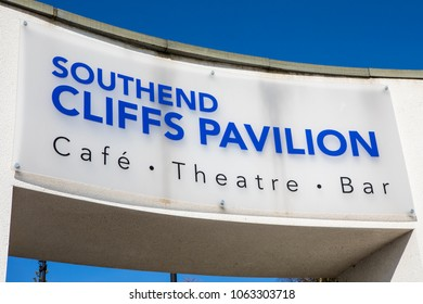 ESSEX, UK - APRIL 5TH 2018: A sign above an entrance to the Cliffs Pavilion in Southend-on-Sea, Essex, on 5th April 2018.