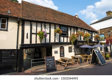Essex, UK - August 27th 2019: The exterior of historic timber-framed building of the Welsh Harp public house in the town of Waltham Abbey in Essex, UK.
