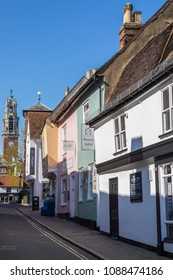 ESSEX, UK - MAY 7TH 2018: A view in the historic market town of Colchester in Essex, UK, on 7th May 2018.  The tower of Colchester Town Hall is in the distance.